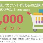 楽天Rebatesがお得!新規登録なら2500円以上の購入で1000円ポイントもらえます