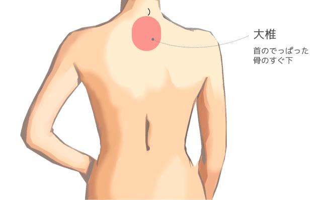 体温を上げて免疫力アップ!からだ全体と腰を温めるツボ・場所 大椎