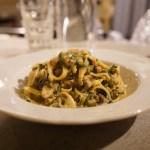 【ナチュラルワイン食堂okuto】牡蠣と春菊のクリームソースのタリアテッレ