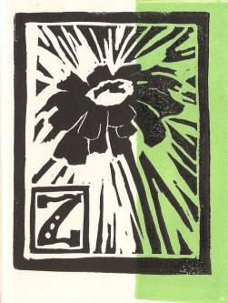 """""""Zinnia"""" Linoleum Block Print. 2013."""