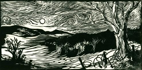 """Sunset: Valley of the Cows."" Linoleum block print. 2014."
