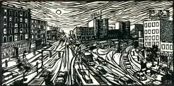 """Commute II."" Linoleum block print, 6"" x 12"". 2014."