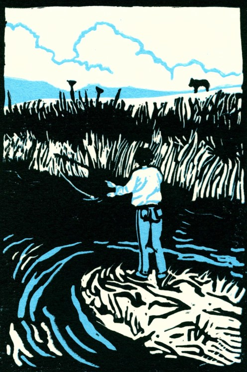 """Fishing in the Shenandoah Valley."" Linoleum block print. 6"" x 4"". 2014"