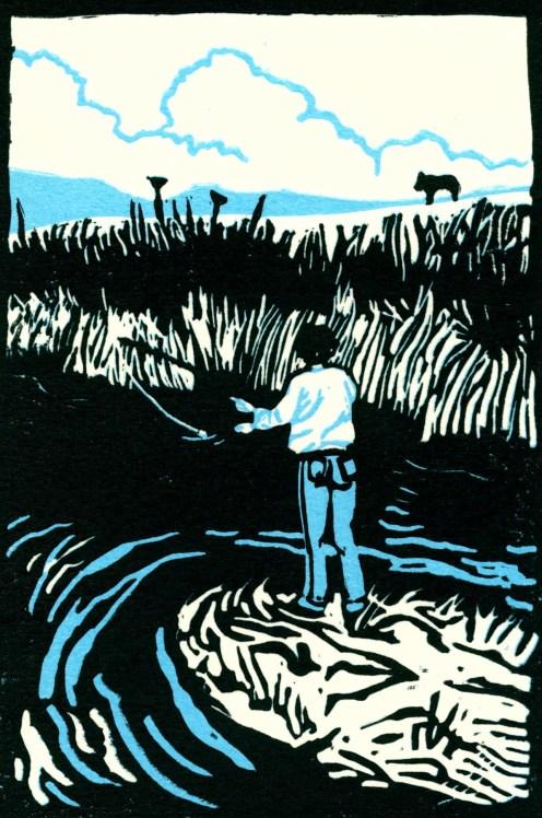 """Fishing in the Shenandoah Valley."" Linoleum block print. 6"" x 4"". 2014"