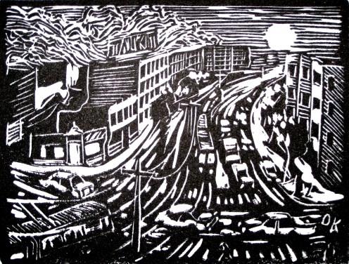 """""""Commute III."""" 3"""" x 5"""" Linoleum block print, 2015."""