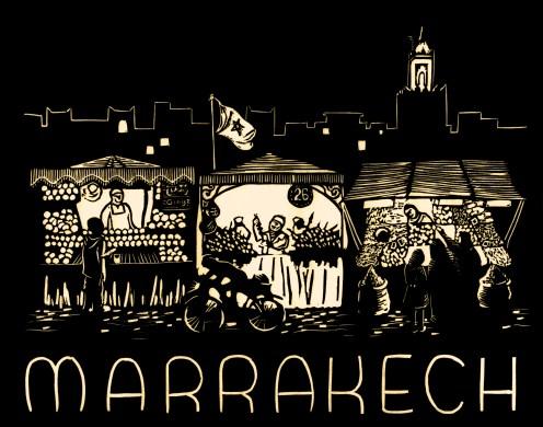 """Marrakech."" Linoleum block print with digital manipulation. 2015."