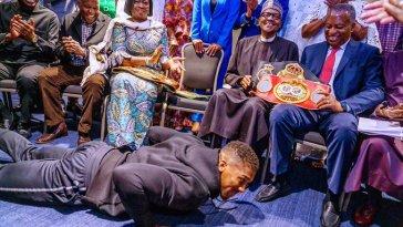 Anthony Joshua prostrates