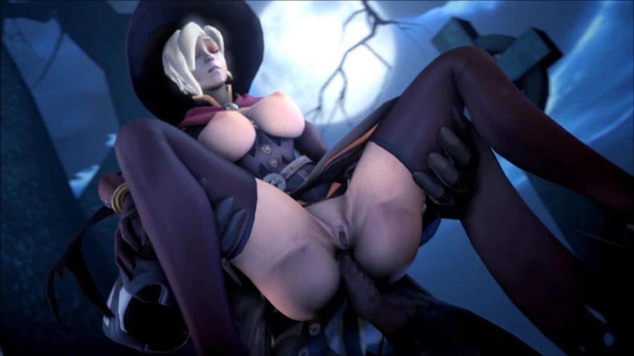 [Overwatch] 魔女コスプレのマーシーさんのエロ動画 [3DCG] (13)