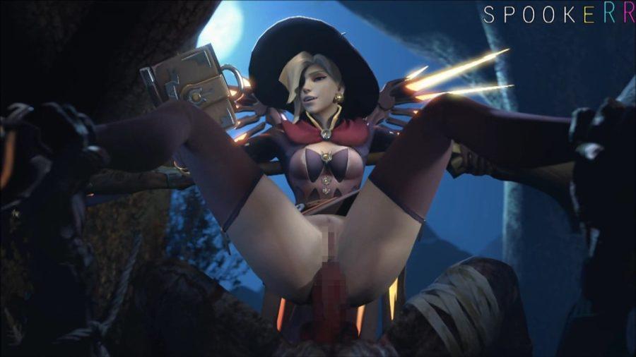 [Overwatch] 魔女コスプレのマーシーさんのエロ動画 [3DCG] (20)