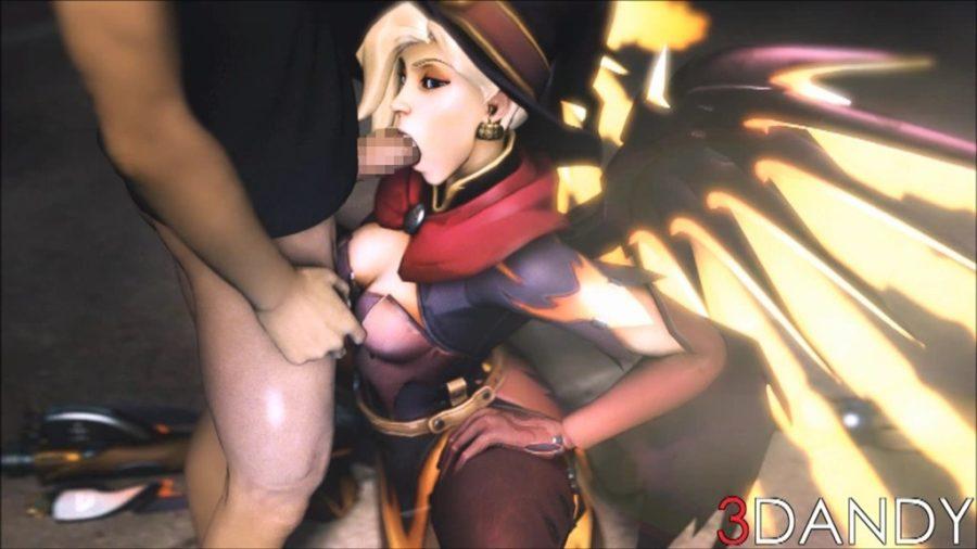 [Overwatch] 魔女コスプレのマーシーさんのエロ動画 [3DCG] (8)