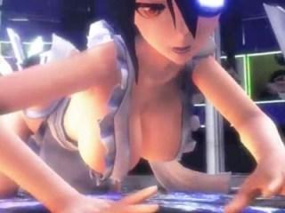 【艦これMMD】天龍ちゃんの巨乳おっぱいがはみ出そうな水着エプロンでセクシーダンス【3Dエロアニメ】