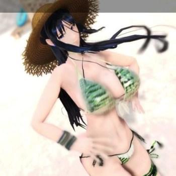 【MMD-R18 絶対少女】 魔法少女の鈴原美紗がビーチでビキニから巨乳がポロリ+騎乗位中出しセックスするエロ動画 (魔法少女)