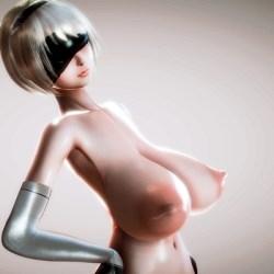 [3DCG,ニーア オートマタ] ヨルハ二号B型の爆乳化Project (NieR:Automata)