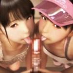[3Dアニメ] 日焼けロリの双子姉妹とハーレムお〇んこサンドイッチで中出しセックス!