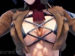 【進撃の巨人】割れた腹筋と揺れる巨乳がアンバランスでエロいミカサ動画