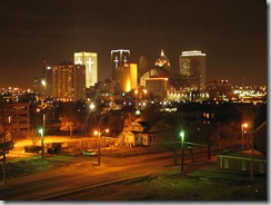 Oklahoma City skyline on Christmas Eve