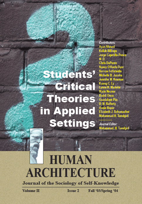 Students' Critical Theories in Applied Settings [Human Architecture: Journal of the Sociology of Self-Knowledge, II, 2, 2004]