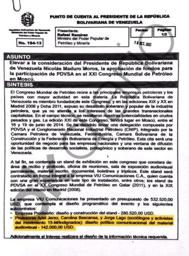 Contrato firmado por Nicolás Maduro en octubre de 2013 por el cual pagó 142.000 dólares (122.673 euros) a tres miembros de Podemos: Carolina Bescansa, Jorge Lago y Ariel Jerez.