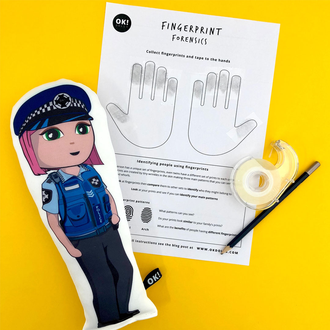 free STEM kids activity to identify fingerprint patterns using forensics