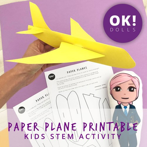 paper plane printable and yellow cardboard plane