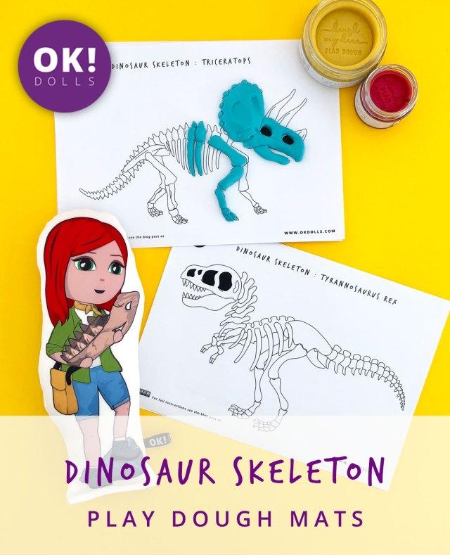 ok dolls tyrannosaurus triceratops skeleton bones play dough mats kids activity