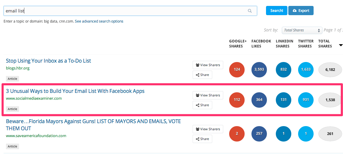 buzzsumo-email-list-results list building - List Building: How to Get Your First 100 Email Subscribers