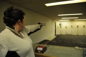 Rachel Martyn shooting Air Pistol