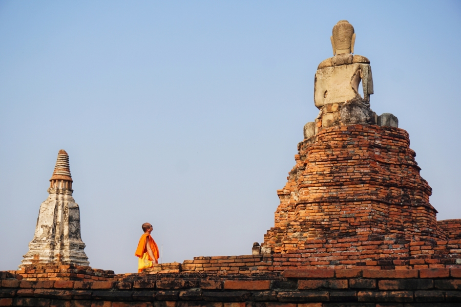 Ayutthaya, Thailand, monks, temples, ruins, culture, history