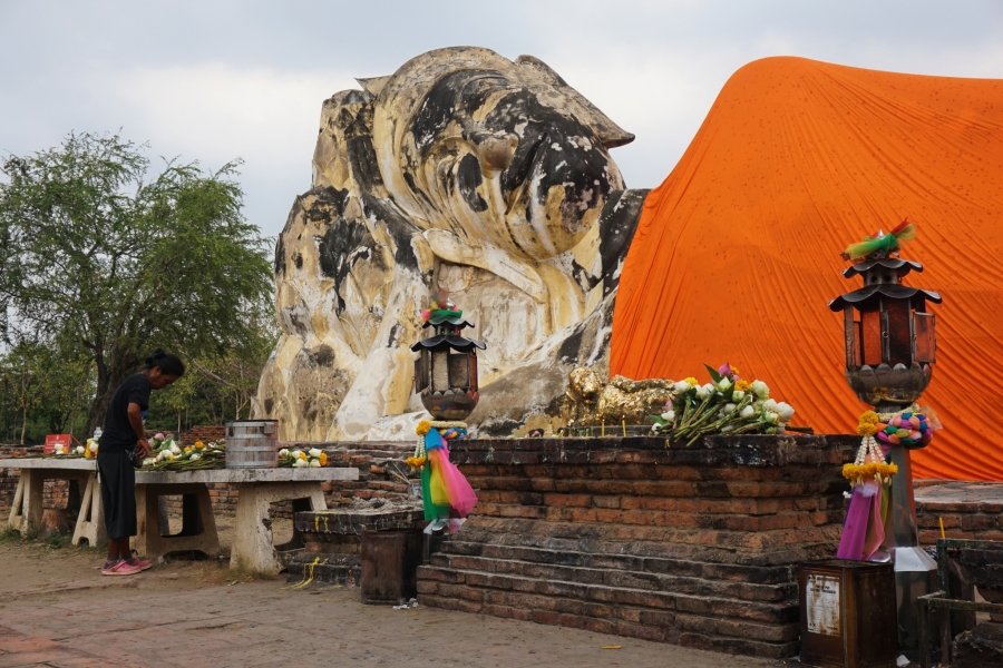 Historical Ayutthaya has temple ruins including a reclining buddha.