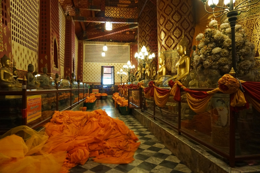 Buddhist robes at one of the oldest temples in Thailand.