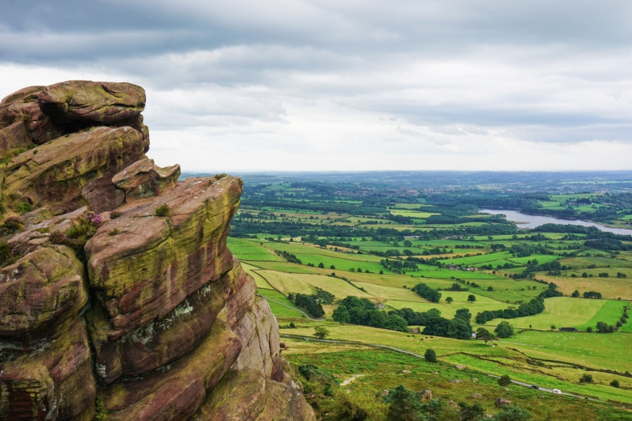 The Roaches, England is a great spot for hiking and pastoral views of the countryside.