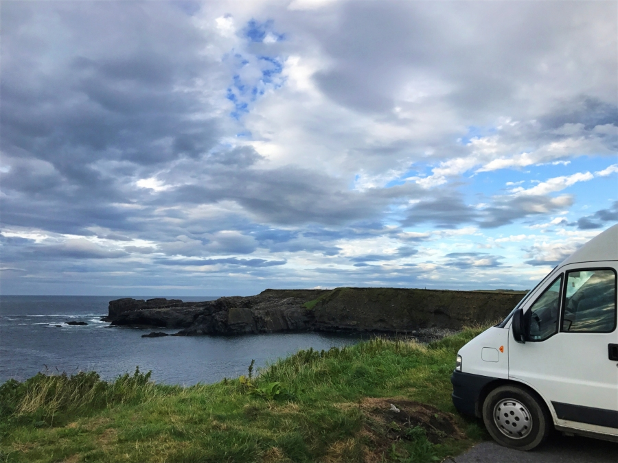 Campervan spot on Kilkee Cliffs near the Bridges of Ross.