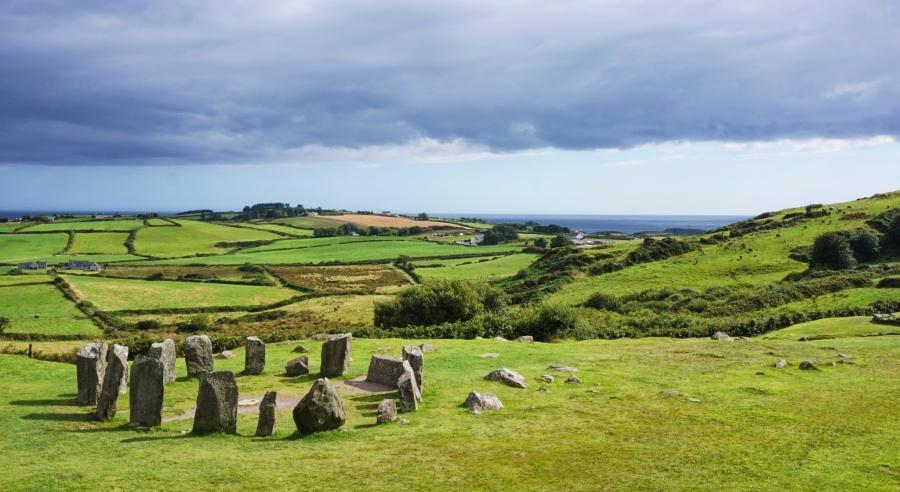 Drombeg Stone Circle, ancient site in Ireland on the WIld Atlantic Way.