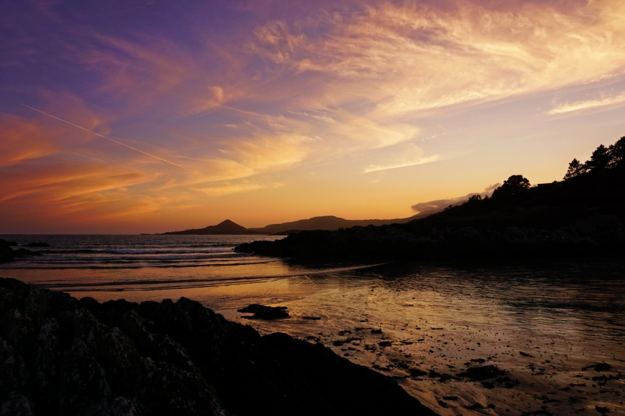 White Strand Beach at sunset on the Ring of Kerry