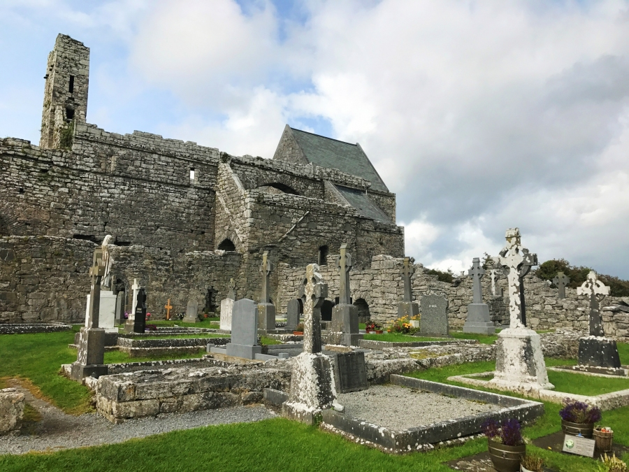 Corcomroe Abbey ruins has a lot of upkept graves and great architecture in The Burren, Ireland.
