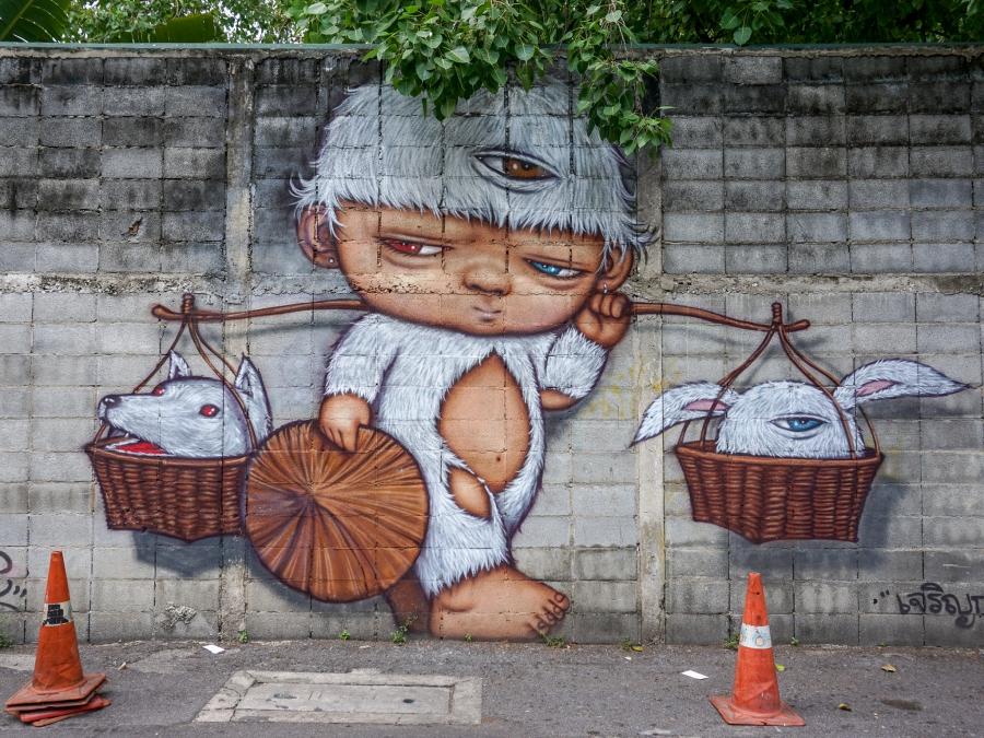 Street art in Bang Rak, Bangkok