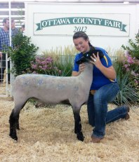 Katy and her lamb at the Ottawa County Fair