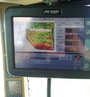 The yield monitor in the combine cab allows the Leonards to track yields and other important harvest information so they can make changes to their production practices.