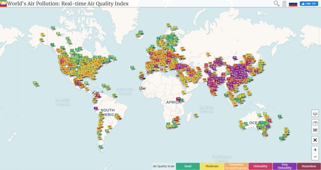 World Air Pollution Map Air Quality Index