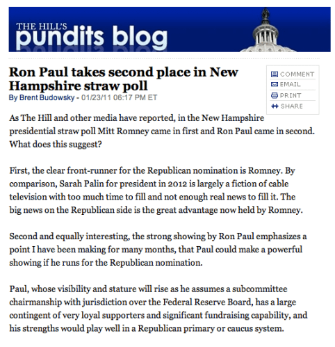 The Hill writes on Ron Paul's 2nd Place in Recent NH Straw Poll