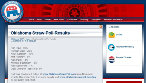 Okies pick Dr. Paul in Oklahoma GOP Straw Poll Win
