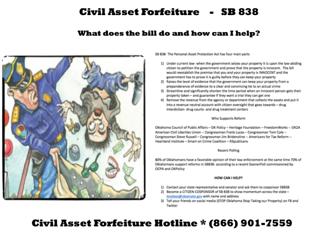 Civil Asset Forfeiture Reform – An Idea Whose Time Has Come! – Support SB 838