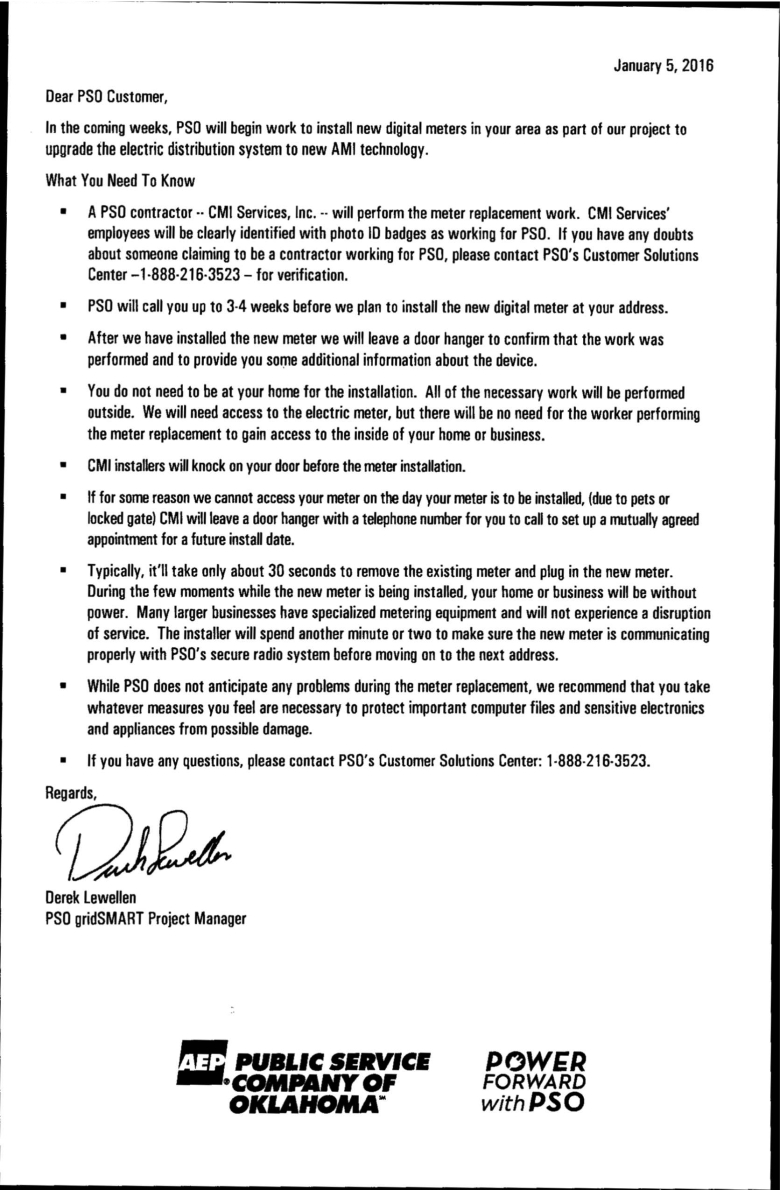 AEP-PSO New Digital Meter Installation Letter dated Jan 05 2016