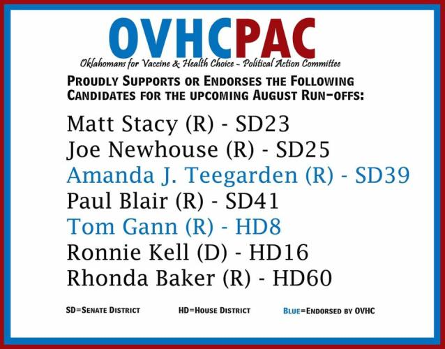 OVHCPAC Endorsements for August 23rd Run-off Elections