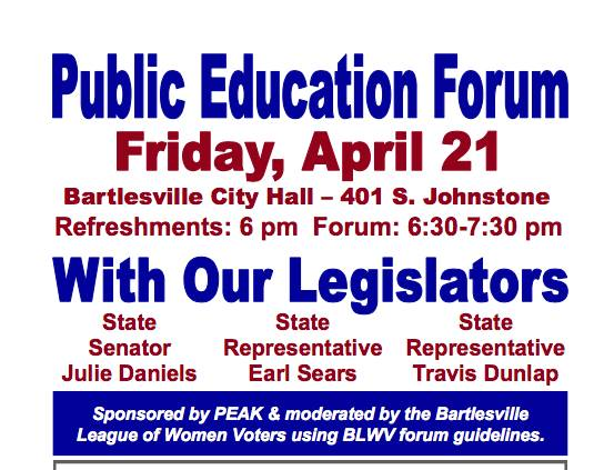 Bartlesville City Hall - Public Education Forum April 21st