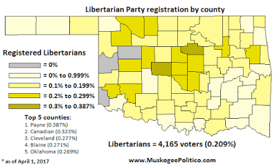 Map: Oklahoma Libertarian Party registration by county