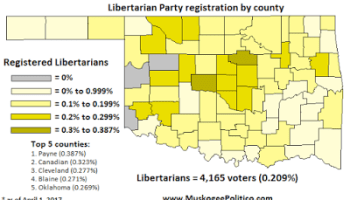 Map Oklahoma Libertarian Party Registration By County OKG News - County maps of oklahoma