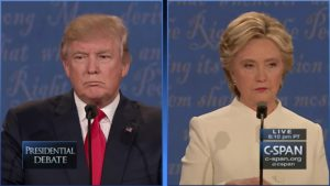 "Donald Trump and Hillary Clinton in the third presidential debate in 2016, during which Clinton called Trump Vladimir Putin's ""puppet."