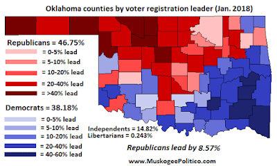 MuskogeePolitico:  Oklahoma Voter Registration Map, January 2018