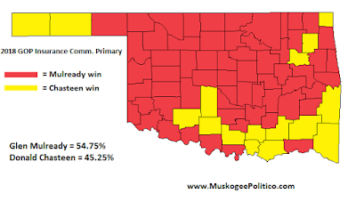 MuskogeePolitico/Election Results Map: GOP Insurance Comm Primary